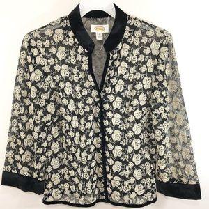 Talbots Shirt Jacket Sheer Floral Black Top Size 6